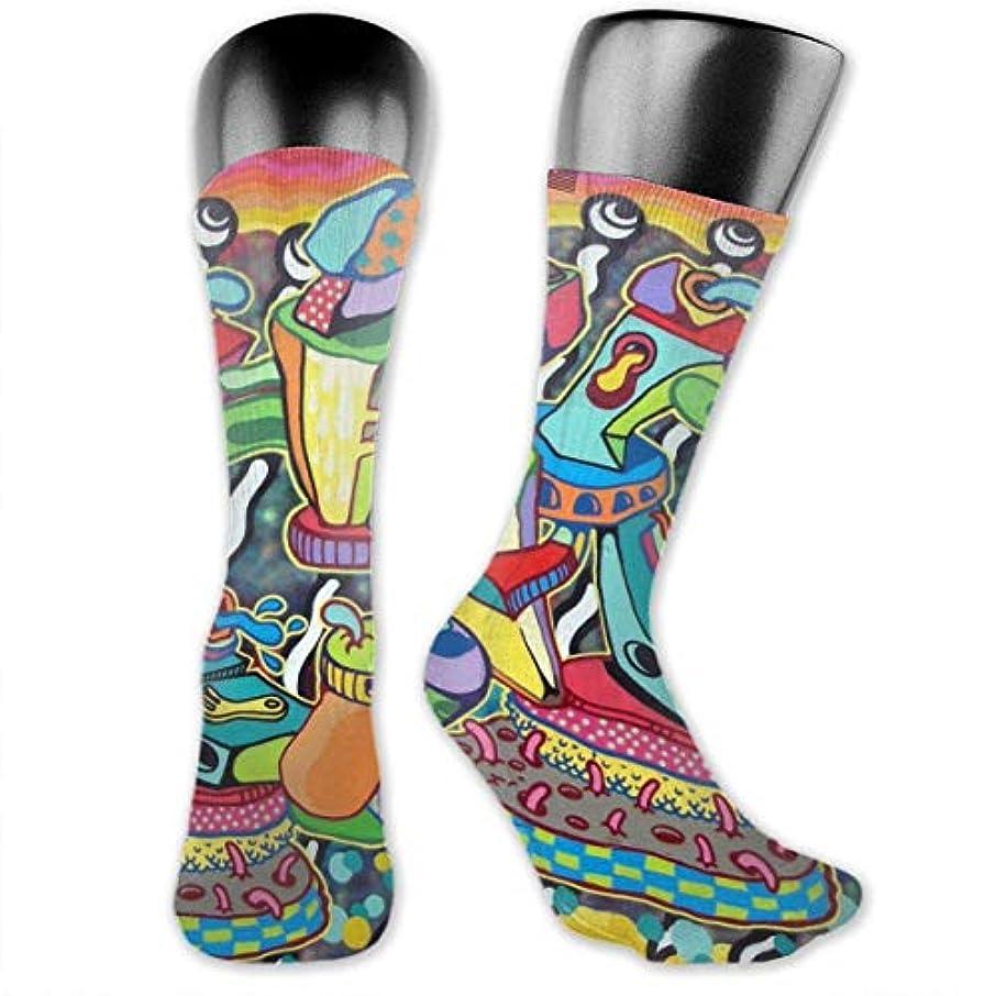 衣類味方電子MKLOS 通気性 圧縮ソックス Breathable Extra Long Cotton Thigh High Zebra Rainbow Socks Over Exotic Psychedelic Print Compression...