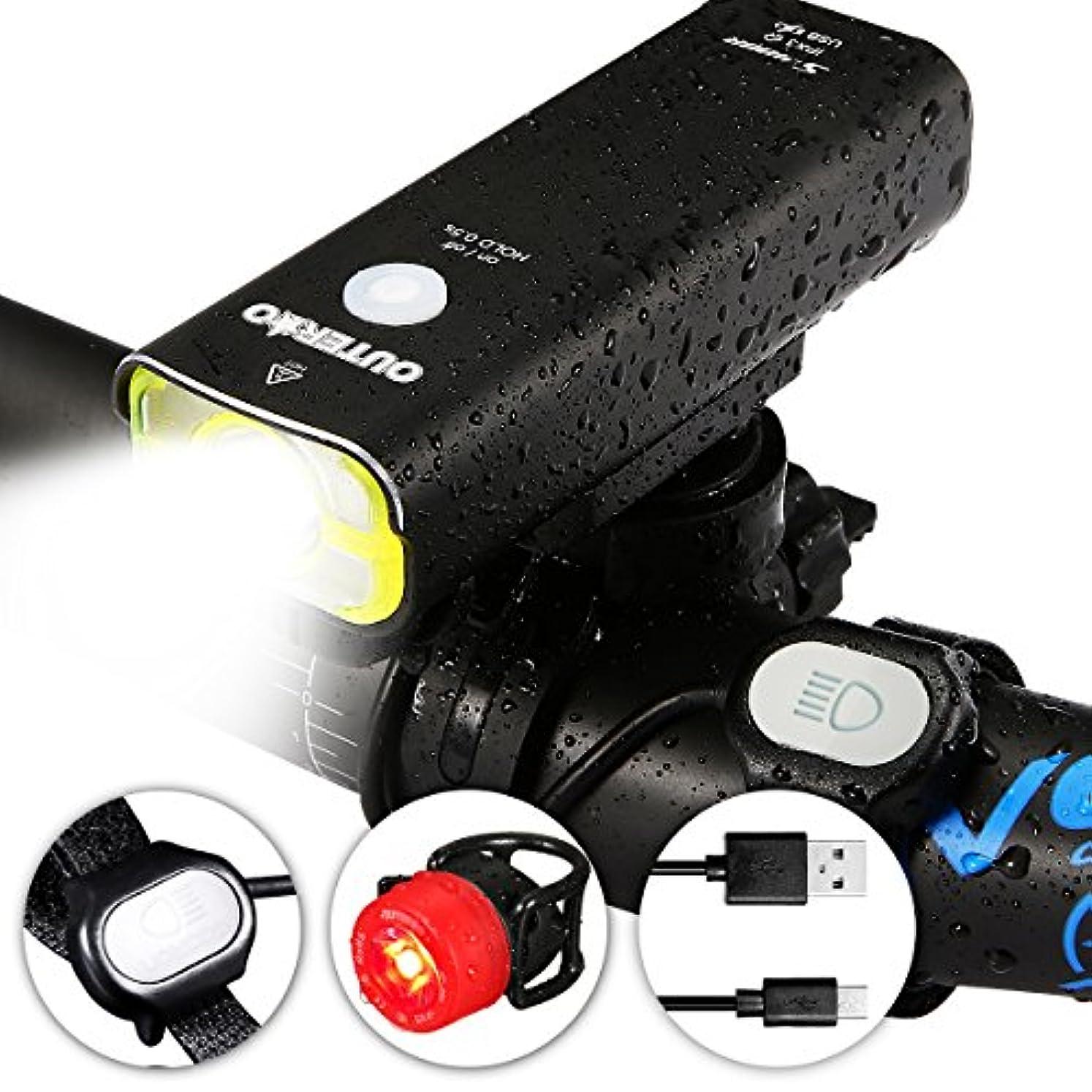 音声学できれば倒錯OUTERDO 自転車ライト usb充電式 防水 自転車前照灯 自転車ヘッドライト テールライト付属 高輝度 軽量 取り付け簡単 4モード 2500mAh USB充電式 自転車ライト 自転車懐中電灯 LEDヘッドライト アウトドア専用 夜間走行