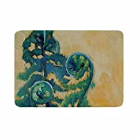 "KESS InHouse Carol Schiff""Fiddleheads"" Yellow Green Memory Foam?Bath Mat, 24 by 36"" [並行輸入品]"
