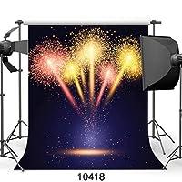 GooEoo 10×10フィート新年都市夜景フォトコール花火輝く子供結婚式の背景写真クリスマス背景JLT10418