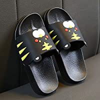 Children's Shower Slippers, Child Cartoon Non-Slip Soft Bottom Home Slippers with PVC Material,Black,25/26