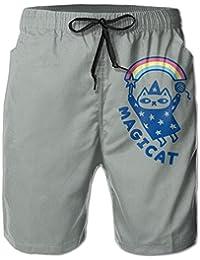メンズレインボー 猫 ビーチパンツ 水着 ハーフスイムウェアサーフパンツ ボードショーツ 水陸両用 吸汗速乾