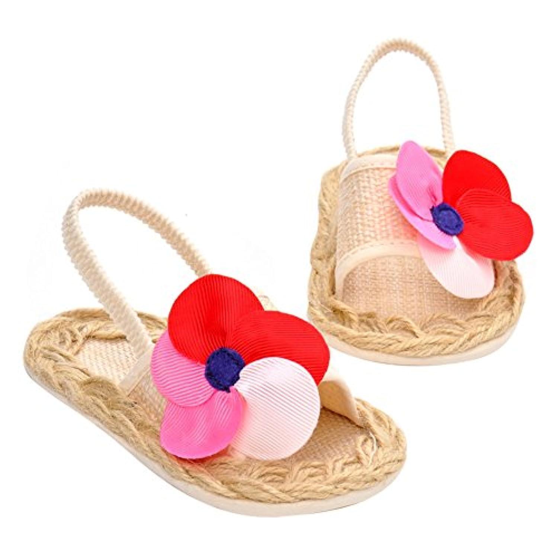 Domybest ベビー サンダル ベビーシューズ 靴 子供 0-18ヶ月 女の子 お花 柔らかい底靴キッズ シューズ 夏 お出かけ 日常生活