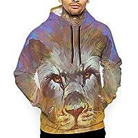 夕焼けと獅子 パーカー メンズ スウェット 秋冬 大きいサイズ 長袖 トップス プルパーカー カジュアル 3Dプリント ポケット付き