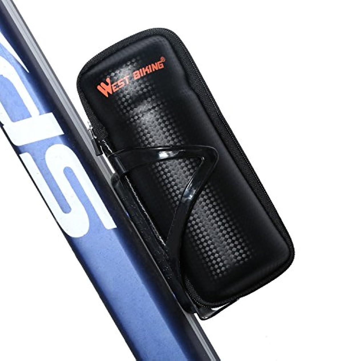 ラケットタンク建設West Biking ウォーターボトルケージ用ジッパーケース道具バッグ ブラック