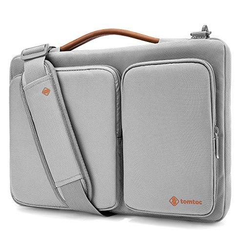 tomtoc 360°保護 15.6インチ ノートパソコン ショルダバッグ、15 - 15.6インチ Dell HP Acer Lenovo Chromebook ウルトラブックラップトップ 、スリーブ バッグ タブレット、ライトグレー