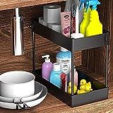 Under Sink Organizer, Under Bathroom Sink Storage 2 Tier Organizer Bath Collection Baskets with Hooks, Black Under Sink Shelf