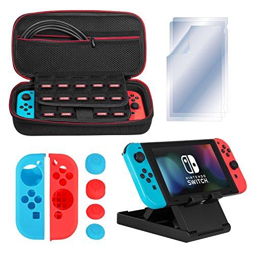 (ディヤード)Deyard Nintendo Switch アクセサリー 4IN1 任天堂スイッチ ケース 保護フィルム ニンテンドー スイッチJoy-Conカバー +プレイスタンド