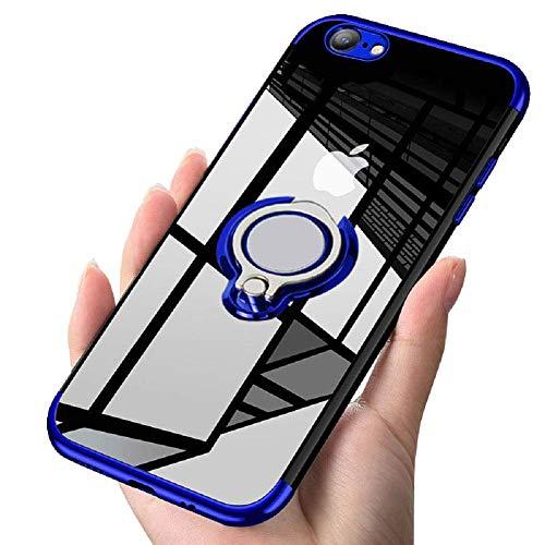 iPhone6S plus / iPhone6 plus ケースリング クリア 透明 耐衝撃 全面保護 磁気カーマウントホルダー スタンド 柔らかい殻 ケース 車載ホルダー対応 薄型 軽量 TPU 滑り防止 黄変防止