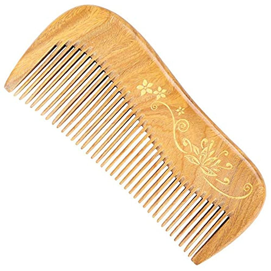 急襲息苦しい細いGuomao 玉サンダルウッドの櫛彫りのタッチゴールド理髪櫛 (Size : 12.5*5.5*1.1 cm)