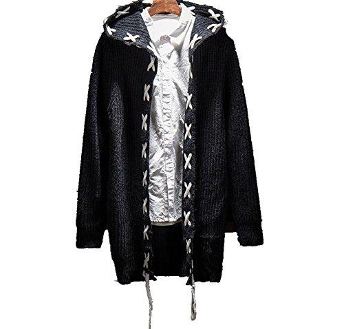 ニットセーターメンズ Swins Surr ロング カーディガン ファッション フード付き冬厚手防寒 セーター カジュアル (XL/黒)