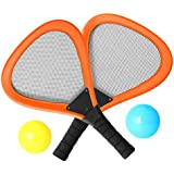 Pack of 2 15'' Badminton Tennis Rackets Kit with 2 Balls Junior Sports Elastic Mesh Badminton Racquets Set for Kids Outdoors Play Game Toy(596 Orange)