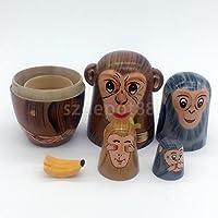 木製Russian Nesting Doll Babushka Matryoshka 5点Dolls Monkey Painted