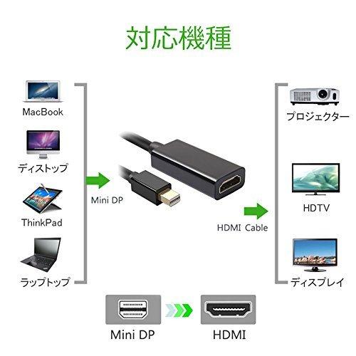 QTop Mini DisplayPort to HDMI変換ケーブル 高解像度4K,3D対応 Thunderbolt DP to HDMI HDTV変換アダプター 【相性保証付き】(Apple MacBook Pro, iMac, MacBook Air, Mac mini, Microsoft Surface Pro, ThinkPad X1などに対応)
