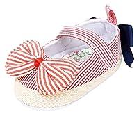 [Y-BOA] ベビーシューズ 赤ちゃん靴 ファーストシューズ ドレスシューズ プリンセス お姫様 女の子 ストライプ リボン付き 可愛い 歩行練習 出産お祝い レッド 11cm