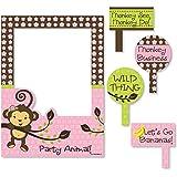 Big Dot of Happiness Pink Monkey Girl - 誕生日パーティーやベビーシャワー用自撮り写真ブース写真フレーム & 小道具 - 丈夫な素材に印刷