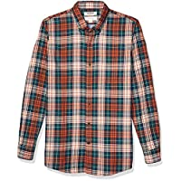 Goodthreads Men's Slim-Fit Long-Sleeve Doubleface Shirt, Rust Green Tartan with Chambray Large