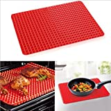 Non Stick Silicone BBQ Pyramid Pan Fat Reducing Slip Oven Baking Barbecue Charcoal Grill Oil Filter Pad Tray Sheet Cooking Ma