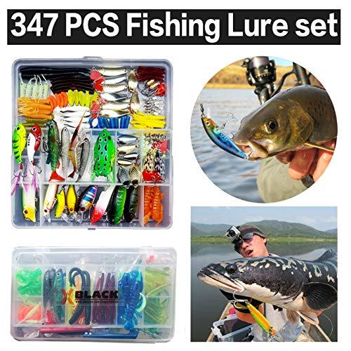 釣りルアーセット 釣具セット 347個 ソフトルアー ハードルアー ワーム フライ ケース付き 多種類 釣り初心者に (347本)