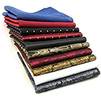 AVANTMEN 10 PCS Men's Pocket Squares Assorted Woven Handkerchief Hanky (12 x 12 S9)