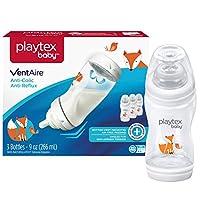 Playtex Baby BPAフリーVentAire Foxデコレーションベビーボトル、9オンス、3パック
