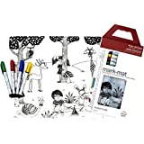 modern-twist Kids Mark-Mat Silicone Coloring Placemat with 4 Dry-Erase Markers, Day at the Pond [並行輸入品]