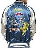 (コンフューズ)CONFUSE スカジャン メンズ ジャケット 龍 虎 ドラゴン タイガー 刺繍 アウター サテン アメカジ ブルゾン cfjk2006 (M,BLUE)