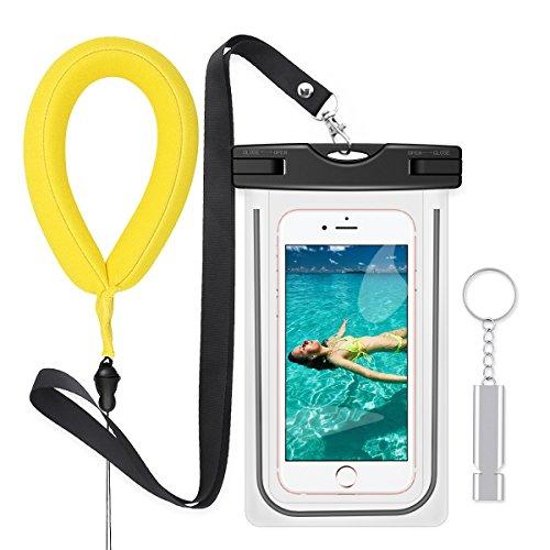 防水ケースセット【フローティングリストバンド、金属救援ホイッスル付属】PolySky 夜間発光スマホ用フォンケース・カバー IPX8認定 iPhone全部/Samsung Galaxy S8/S7 edge/SONY Xperia/HUAWEI など6インチ以下の機種対応な防水袋 お風呂 温泉 釣り 水泳などに最適な完全防水携帯ケース (黒)