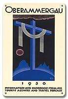 22cm x 30cmヴィンテージハワイアンティンサイン - 1930オーバーアマガウの受難劇 - バイエルン、ドイツ - ビンテージな宗教的なアート によって作成された リチャード・クライン c. 1930