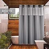 Lagute Hooklessシャワーカーテンwithスナップフック取り外し可能PEVAライナー, 71x 74インチポリエステル浴室カーテンを半透明防水anti-moldyスナップインライナー、グレーMini Squareカラー