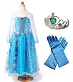 CREDIBLE アナと雪の女王 エルサ 風 子供用 コスチューム 4点 セット ( プリンセスドレス , ハートのティアラ , 手袋 , CREDIBLE<img src=