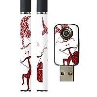 スマコレ プルームテック ploom tech バッテリー スティック 専用スキンシール USB充電器 カバー ケース 保護 フィルム タバコ ラブリー ハート 天使 005604