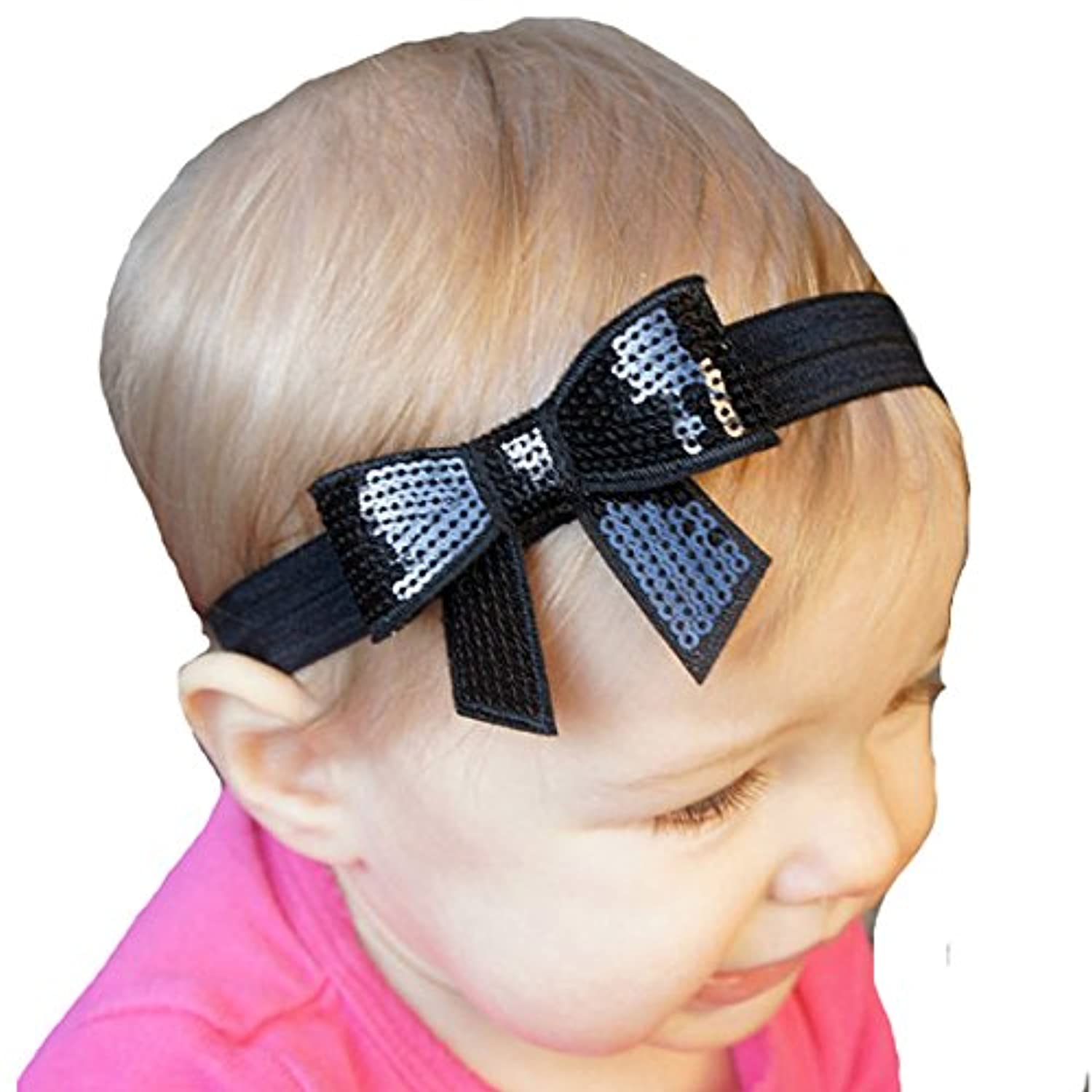 miugle Baby Girlブラックヘッドバンドwith Bows