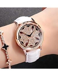 SANDA×un bel tocco グルグル時計 本革ベルト 文字盤が回る くるくる時計防水機能付 リーフ 1年保証 (ホワイト)