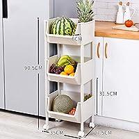 棚収納ラック野菜と果物の棚プラスチック3階35×27.5×90.5cm (色 : B)