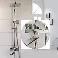 304ステンレスの正方形のシャワーは花をこぼすスーツに昇降したレンダブの増圧冷熱水の蛇口