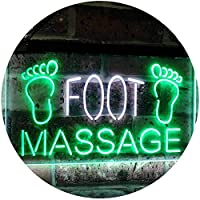 Foot Massage Shop Relax Welcome Open Business Décor Dual Color LED看板 ネオンプレート サイン 標識 白色 + 緑色 400 x 300mm st6s43-j2986-wg