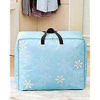 WTL かご?バスケット オックスフォード布衣類仕上げボックス厚い綿のキルトの収納袋防水移動袋の折り畳み収納 (色 : ライトブルー, サイズ さいず : Extra large)