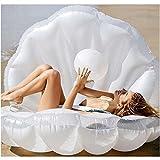 大型フロート 人魚になれる シェルフロート 貝殻型フロート 真珠デザイン パールボール付 マーメイド ホワイト 浮き輪 浮き具 (MERMAID)