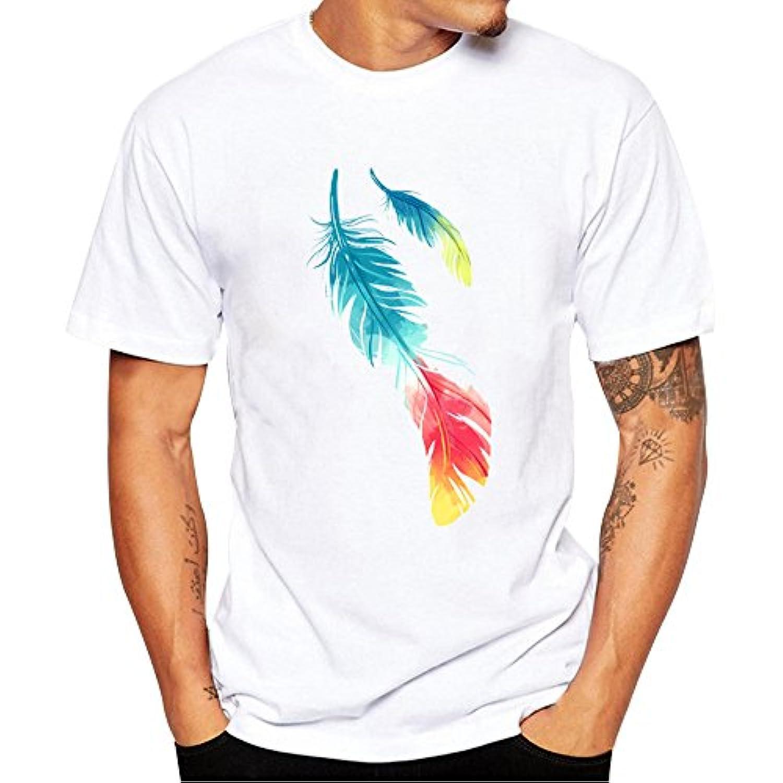 Tシャツ Hosam メンズtシャツ 丸首 半袖 白t プリント 星 ストライプ スケルトン 旧式カメラ 個性的 夏着 日常 通勤 シンプル (XXXXL, 羽)