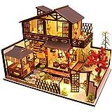 CuteBee DIY木製ドールハウス、林栖谷居、ミニチュアコレクション、LEDライト、オルゴール、プレゼント、電池AA…