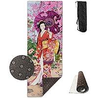 日本美人 ヨガマット 収納ケース付き エクササイズマット ピラティスマット トレーニングマット ニトリルゴム 折りたたみ 180×61cm