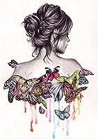 Lady withバタフライ肩、DIYダイヤモンド絵画クロスステッチ、クリスタル、ダイヤモンド刺繍 50x40cm