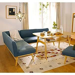 暮らしのデザイン カジュアルソファーダイニング 3点セット(左コーナー+2人掛け+テーブル) ブルー