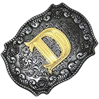 Baoblaze Men's Fashion Western Cowboy Antique Engraved Belt Buckle Golden Letters A-Z