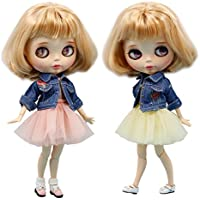 Dolly Para ブライス/AZONE/リカちゃん/桃子共通 ドール衣装 デニムセット (ピンク)