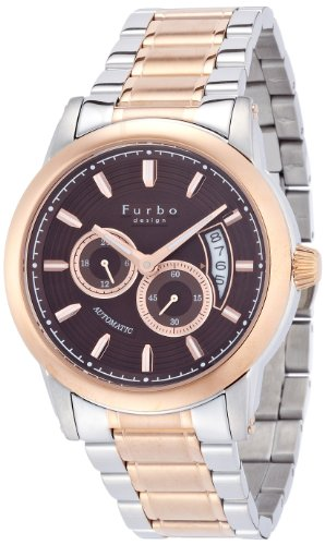 [フルボデザイン]Furbo design 腕時計 F9010 自動巻き ブラウン文字盤 ステンレススチール×ピンクゴールド メンズ F9010BRPG メンズ