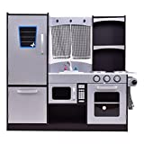 costzonキッチンプレイセット、子供用木製冷蔵庫料理、Little Chef Pretend Playセット