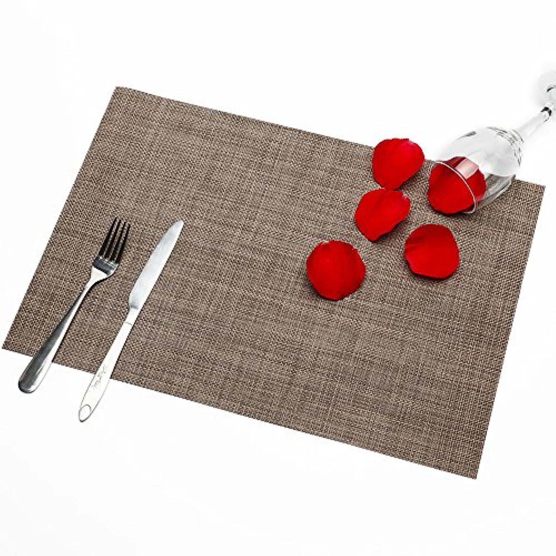 ランチョンマット 4枚セット 無臭無添加 プレースマット テーブルマット 高品質 長持ち 撥水 防汚 断熱 水洗い 清潔簡単 滑り止め 摩擦耐える 食卓飾り食卓マット家庭用 レストラン用PVC製45×30cm (ブラウン) SENBA