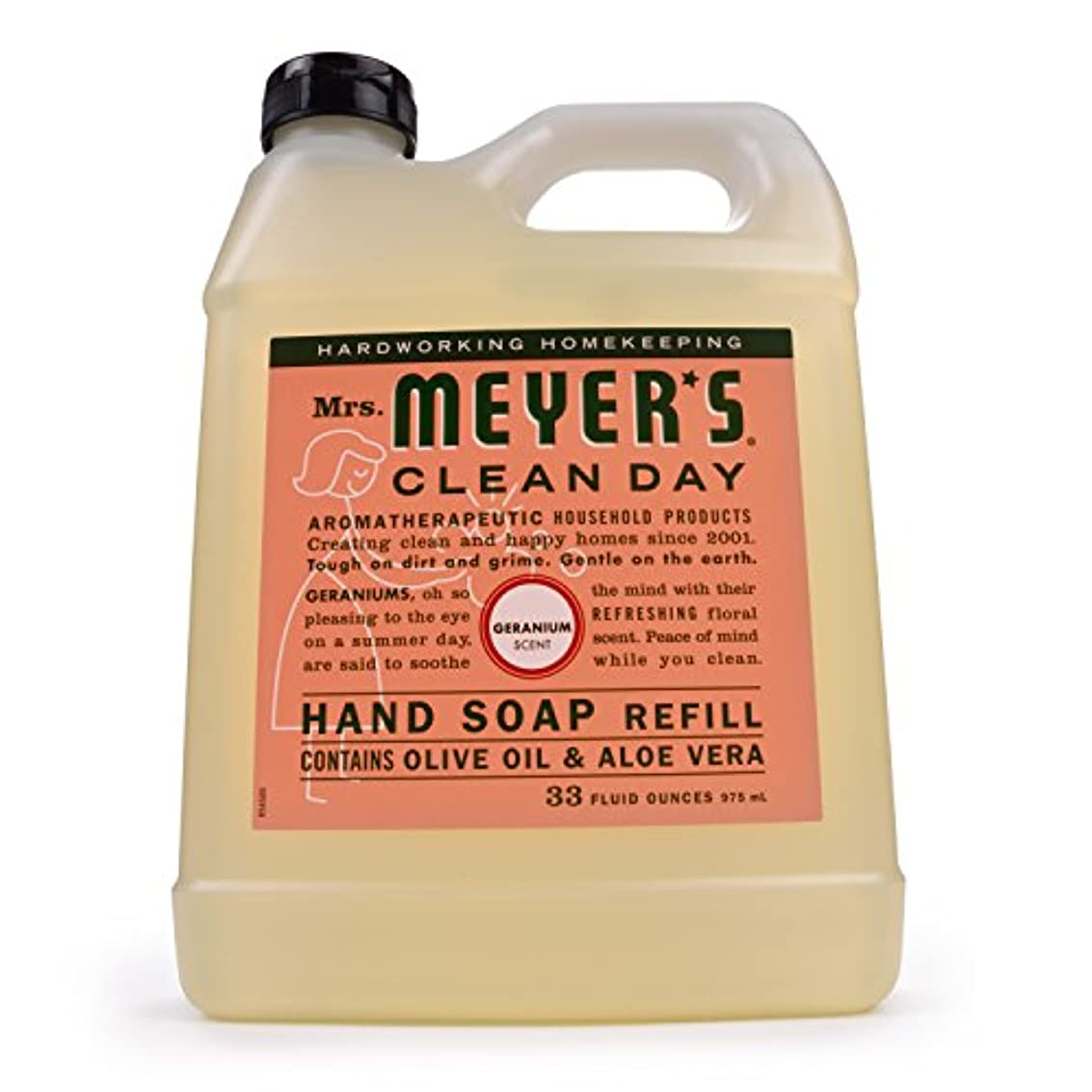 エントリ保全主権者Mrs. Meyers Clean Day, Liquid Hand Soap Refill, Geranium Scent, 33 fl oz (975 ml)